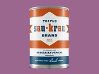 Triple Sau-Krau Mid-Century Sauerkraut Can, Hungarian Paprika