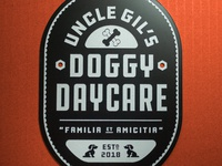Uncle Gil's Doggy Daycare Logo Sign