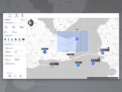 Drone Health Status swarm drone map gis web interaction data ux ui
