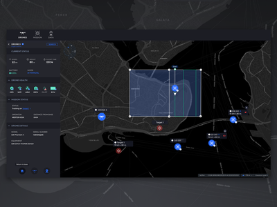 Drone Health Status Dark swarm drone map gis web interaction data ux ui