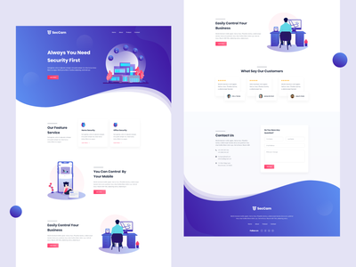Security Landing Page typography illustration user interface landing page design interface landing page adobe xd website homepage ux ui