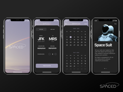 SPACED APP - Dark Version ui design spaced spaced challange app