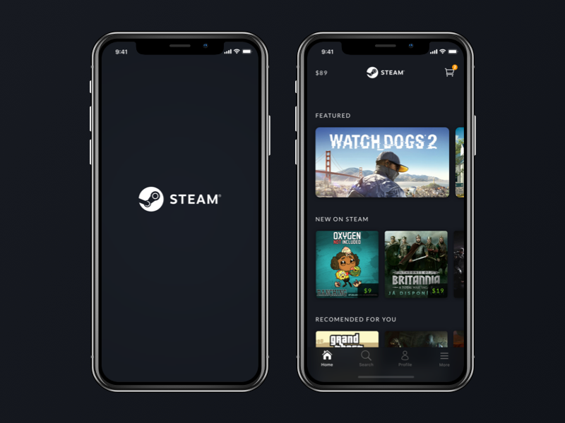 Steam App Redesign - iPhone X games iphone iphone x app redesign steam