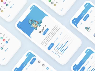 Pokedex iOS app - Squirtle design mobile iphone apple ios water squirtle pokedex pokemon