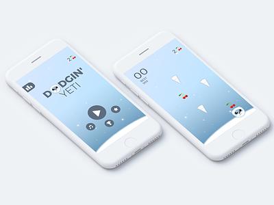 Dodgin' Yeti Game ui game asset design app mobile iphone iphone ui yeti game