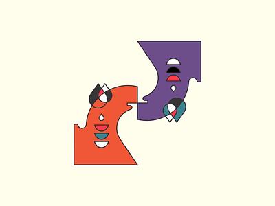 kiss abstract minimal logo illustration vector design