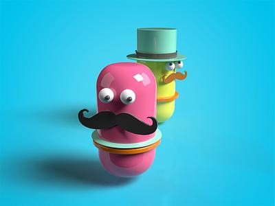 Mustache Man minimal anime illustration vector design