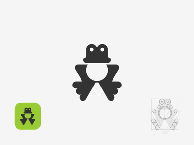 frog reptiles flat icon minimal logo illustration vector design