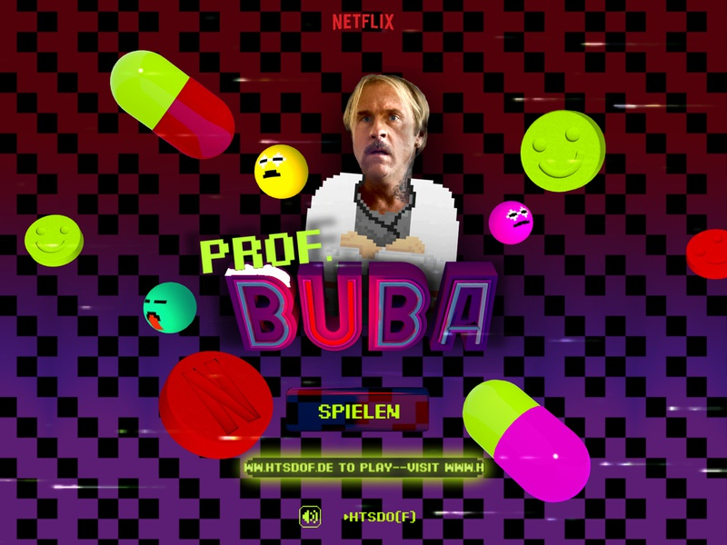 Netflix | 💊 Prof. Buba Game 🕹️ playcanvas game design gamification retro games pixel retro font retro game pixelart advertising mobile website webgl berlin interactive digital motion design ufomammoot animation 3d