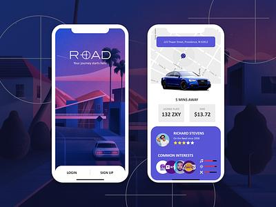Rideshare Rebound icon minimal flat web app ux branding vector ui logo design illustration