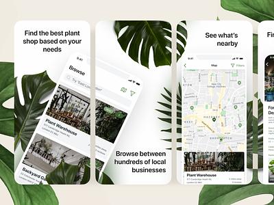 Bootanical Plant Shop App Store Screenshots branding flat minimal app ui ux ui mockup design app design icon app store store app app
