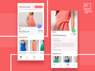 Shopping App Pantone Coral app animation shopping bag online shopping app flat minimal design ecommerce shopping app pantone