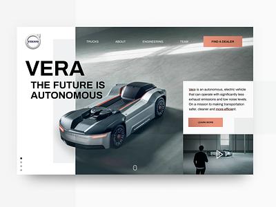 Volvo Vera Concept volvo vector truck mockup modern minimal vehicle app website landing design landing concept