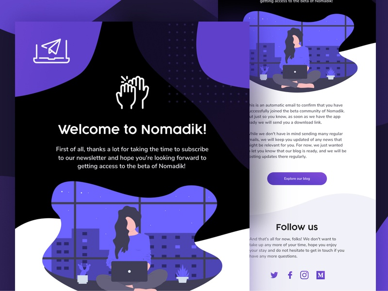 Nomadik Welcome Newsletter mockup ui news design app subscription logotype identity brand newsletter design template email