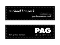 PAG Leisurewear - Branding
