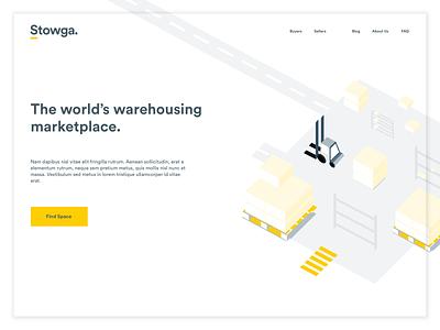 Stowga landing page minimalism whitespace isometric landing page design