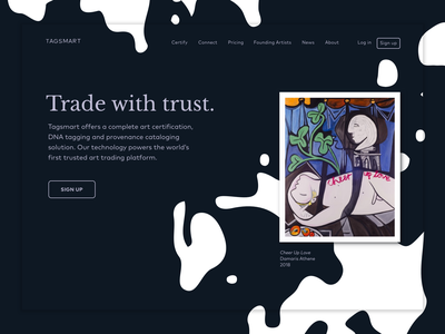 Trade with trust art ui design minimalism landingpage web design