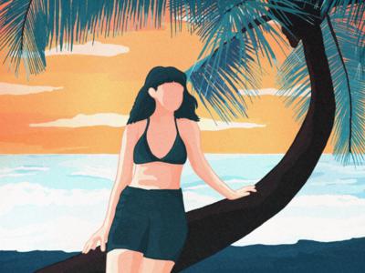 caribbean palmtree beach art colors drawing illustration caribbean
