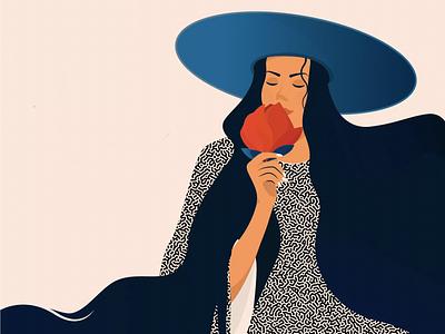 flower friendly girl long hair flowers art spring colors drawing illustration