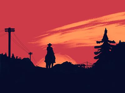 On the Road of Lemoyne ipaddrawing procreate cowboy horse hat sunset art rdr2 reddeadredemption reddead wildwest west vector art design illustration graphic design