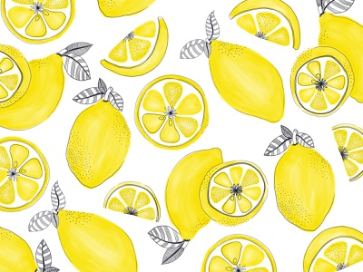 Hand drawn lemons lemonade yellow lemons hand drawn