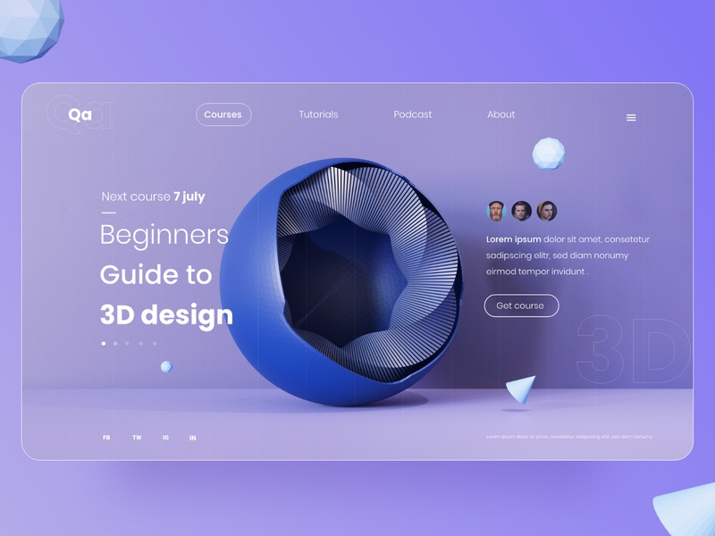 3D course - Landing page 3d model 3d web landing page design landing design interaction design interface interaction webux webui uxdesign uidesign ui web design