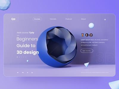 3D course - Landing page 3d model 3d web landing page design landing design interaction design interface interaction webux webui uxdesign uidesign ui web design