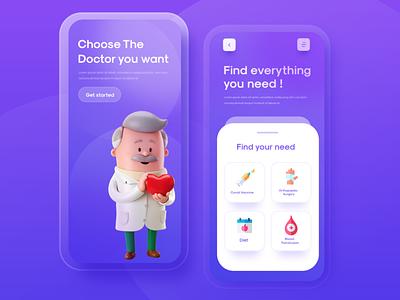 Doctor app doctor app interface ux ui landing design uxdesign minimal interaction design interaction uidesign app design app