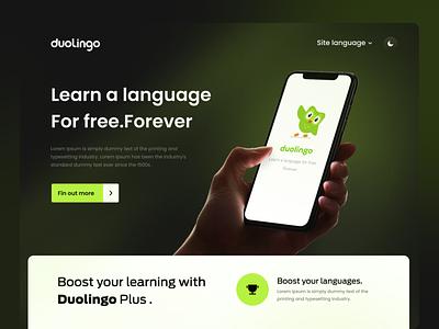 Duolingo landing page - redesign interaction ux minimal landing design landing page landing page design interface website design uiux uxdesign web design duolingo ui uidesign