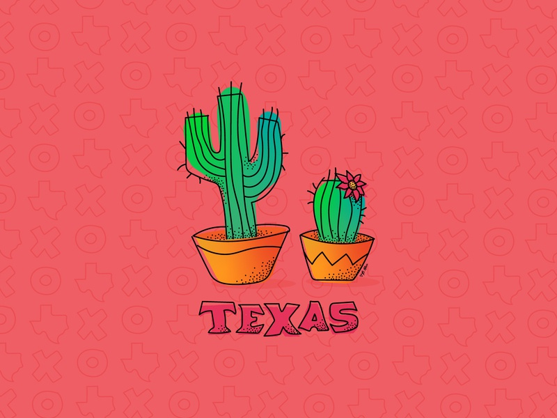 Little Texas Cacti illustrator digital art digital draw handdrawn cactus illustration cactus texas vector illustration
