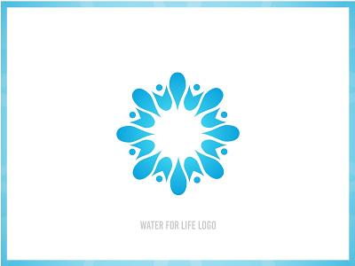 Water For Life Logo identity branding blue community water logo