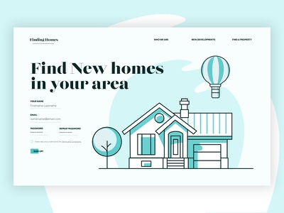 DailyUI - 001 001 daily 100 ui find homes housing website sign up sign in illustration form design daily100 dailyui100 dailyui