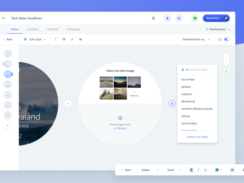 Invocable - Visual Editor - 1 desktop alexa voice interface skill builder constructor image gallery image editing text editor ui interface report data management data visualization template builder template design drag n drop editor vui builder