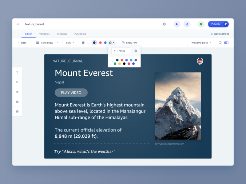 Invocable - Visual Editor - 2 inline editor echo show color picker builder vui editor drag n drop template design template builder data visualization report interface ui text editor image editing constructor skill builder voice interface alexa desktop