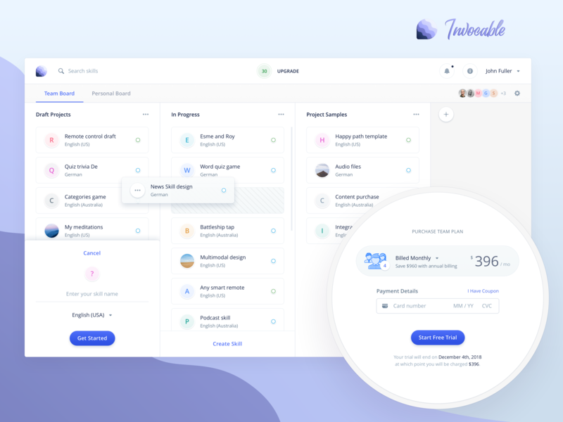 Invocable - Collaboration mode team board purchase collaboration dashboard kanban board kanban dashboard design echo show builder vui drag n drop template builder interface ui text editor constructor voice interface alexa desktop voice