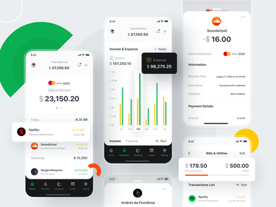 Finance App #Exploration product design debit wallet creditcard dashboard fintech yellow green income expense money management planning business money transaction payment budget finance popular app