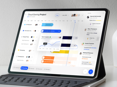 Project Management - Roadmap component calendar task statistic admin enterprise grant b2b saas project management timeline roadmap ipad pro ipad ios chart card blue dashboard popular