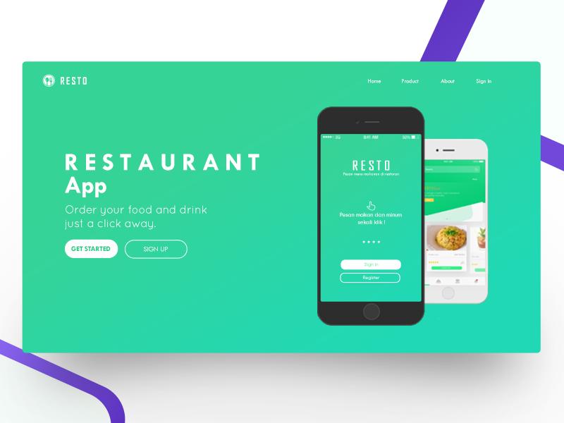 R E S T O - Landing Page landing page web drink food order restaurant