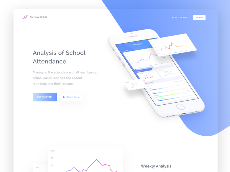 Attendance Analystics Landing Page landing page analystic blue diagram attendance school web design website