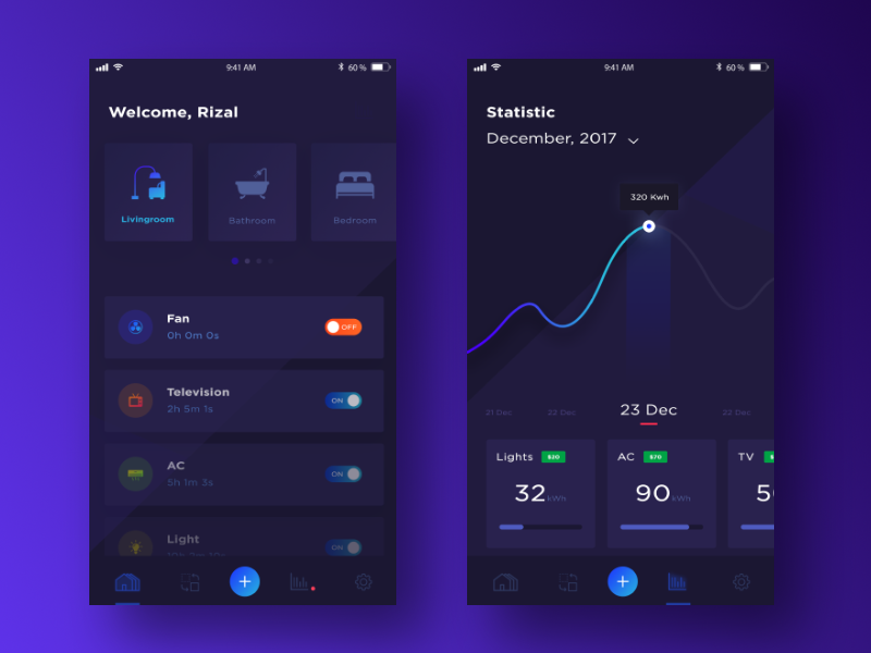 Smart Home Apps mockup graph statistic blue chart ios mobile app house home dark smarthome