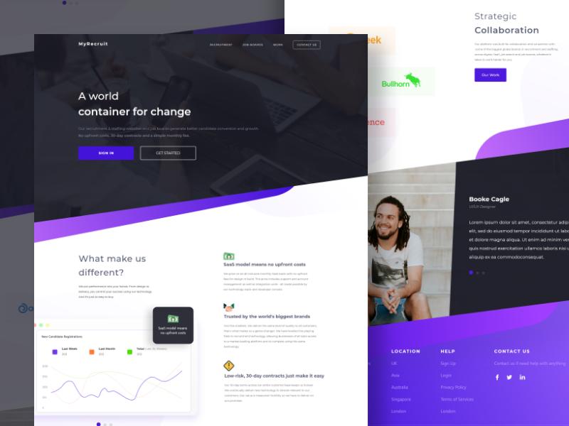 Recruitment Website learning course elegant web design recruitment clean purple cool homepage website landingpage