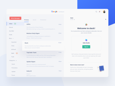 Google Service Dashboard Concept - Email gmail ux upgrade ui mail google desktop dashboard email clean card blue