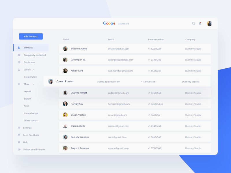 Google Service Dashboard Concept - Contact white blue card clean people dashboard desktop google ui upgrade ux contact