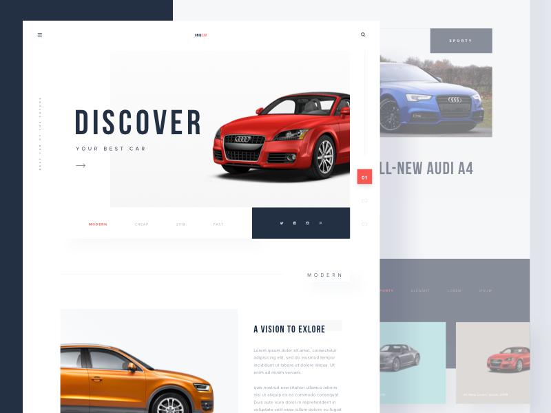 #Exploration | Uniqcar- Car Website website landing page web design minimalist typography ux ui design clean