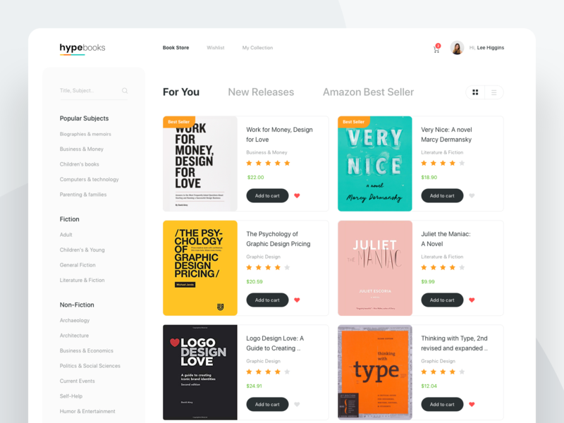 Book Store clear rating checkout bookstore shop store cart favorite popular minimal white whitespace layout typography book dashboard website ux ui clean