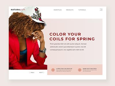 Natural Hair Landing Page branding design web ui
