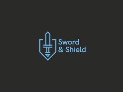 Sword & Shield shield sword logotype logo challenge thirtylogos