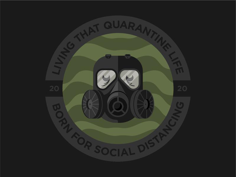 Quarantine gasmask mask quarantine badge true grit texture supply design texture vector illustration