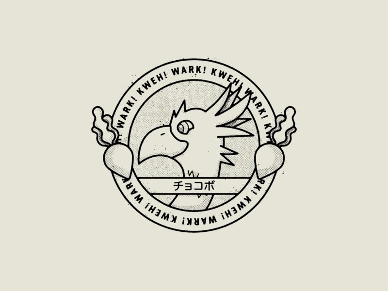 KWEEEEEEEW! WARK! final fantasy chocobo logo badge true grit texture supply design texture vector illustration