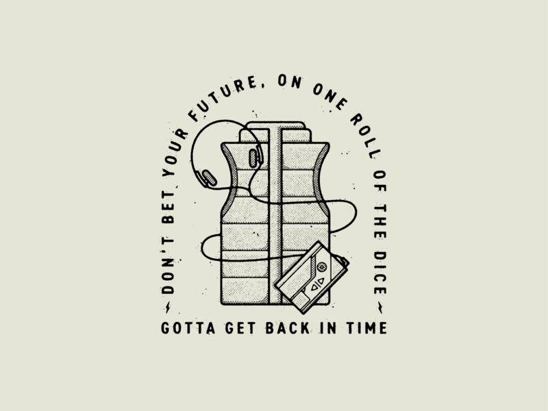 Gotta Get Back In Time retro 80s walkman back to the future movies logo badge true grit texture supply design texture vector illustration